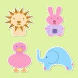 Cuatro animales del bebé Imágenes de archivo libres de regalías