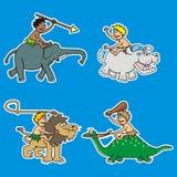 Cuatro animales y varones, iconos del vector ilustración del vector