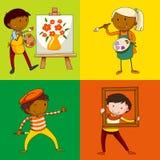 Cuatro artistas que pintan y que colorean stock de ilustración
