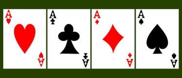 Cuatro as de la tarjeta Foto de archivo libre de regalías