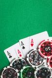 Cuatro as Tarjetas y microprocesadores del póker imagen de archivo libre de regalías