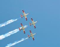 Cuatro aviones que vuelan Fouga CM.170 Magistere. foto de archivo