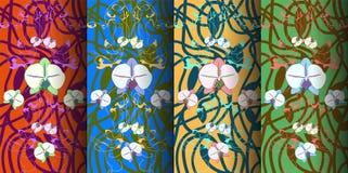 Cuatro banderas del vector 3D con el ornamento floral a mano libre illustration