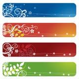 Cuatro banderas o direcciones de la Internet florales Imagenes de archivo