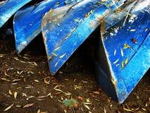 Cuatro barcos azules Imagen de archivo