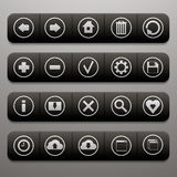 Cuatro barras de herramientas con veinte iconos para el sitio web Fotos de archivo libres de regalías