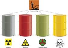 Cuatro barriles coloreados Fotografía de archivo libre de regalías