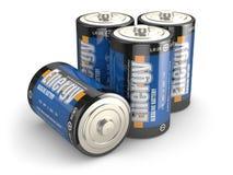 Cuatro baterías en fondo isloted blanco. Imagenes de archivo
