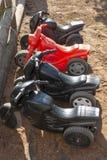 Cuatro bicis en fila imagen de archivo libre de regalías