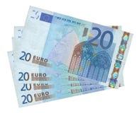Cuatro billetes de banco euro Imágenes de archivo libres de regalías
