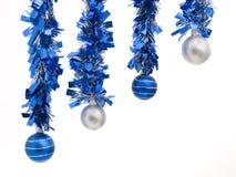 Cuatro bolas de la Navidad en la composición diagonal Fotografía de archivo