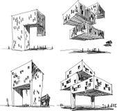 Cuatro bosquejos arquitectónicos de una arquitectura abstracta moderna