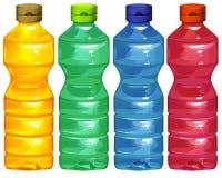 Cuatro botellas de agua Imagen de archivo libre de regalías