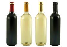 Cuatro botellas de vino Fotografía de archivo