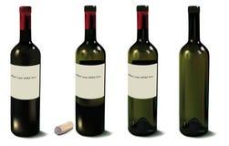Cuatro botellas de vino rojo. Vector. Imagen de archivo libre de regalías