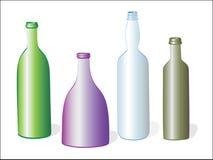 Cuatro botellas en blanco ilustración del vector