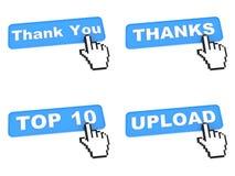 Cuatro botones azules del web con el cursor de la mano Imagenes de archivo