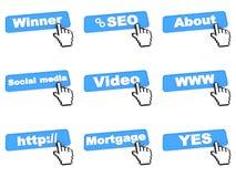 Cuatro botones azules del web con el cursor de la mano Fotografía de archivo