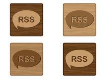 Cuatro botones de madera de RSS Fotos de archivo