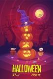 Cuatro calabazas de Halloween en fondo de la luna ilustración del vector