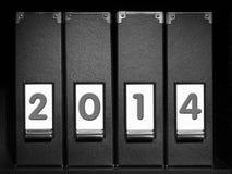 Cuatro carpetas con 2014 dígitos Imágenes de archivo libres de regalías
