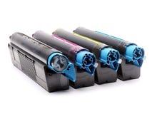 Cuatro cartuchos de toner de la impresora laser del color Foto de archivo libre de regalías