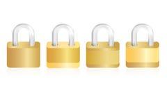 Cuatro cerraduras aisladas del oro en el fondo blanco Fotografía de archivo