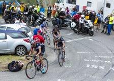 Cuatro ciclistas - Tour de France 2015 Fotografía de archivo