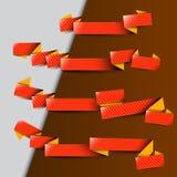 Cuatro cintas rojas con las rayas amarillas Fotos de archivo