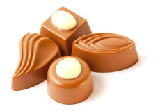 Cuatro clases de dulces hechos del chocolate Imágenes de archivo libres de regalías