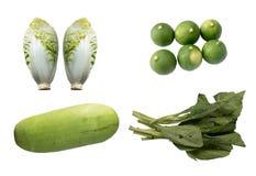 Cuatro clases de verduras aisladas en blanco Imagenes de archivo