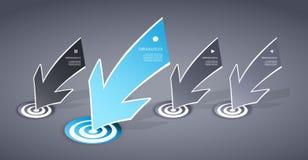 Cuatro coloreados azules y flechas de papel grises Imagen de archivo