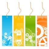 Cuatro colorearon etiquetas con tema de la tecnología en un correo stock de ilustración