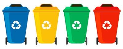Cuatro colores de las latas de los desperdicios stock de ilustración