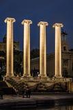 Cuatro columnas en la noche Fotografía de archivo libre de regalías