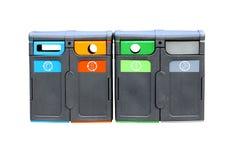Cuatro compartimientos de reciclaje aislados Imágenes de archivo libres de regalías