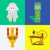 Cuatro conceptos de costura que hacen punto hechos a mano planos Fotografía de archivo libre de regalías