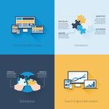 Cuatro conceptos planos del diseño web y del negocio Foto de archivo libre de regalías