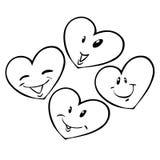 Cuatro corazones Fotografía de archivo libre de regalías