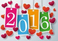 Cuatro corazones coloreados 2016 de las etiquetas engomadas del precio Fotografía de archivo libre de regalías
