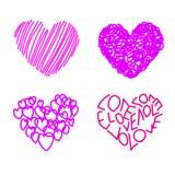 Cuatro corazones de dibujo Fotografía de archivo libre de regalías
