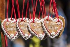 Cuatro corazones del pan de jengibre Imagen de archivo libre de regalías