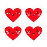 Cuatro corazones divertidos con rajitsami divertido stock de ilustración