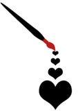 Cuatro corazones pintados Imagen de archivo libre de regalías
