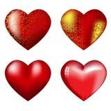 Cuatro corazones rojos grandes con puntos culminantes Fotografía de archivo libre de regalías