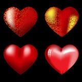 Cuatro corazones rojos grandes con puntos culminantes Fotos de archivo libres de regalías