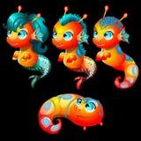 Cuatro criaturas brillantes del mar masculinas y femeninas Imágenes de archivo libres de regalías