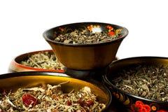 Cuatro cuencos de preparar del té Foto de archivo libre de regalías
