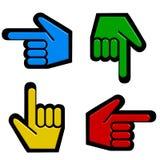 Cuatro cursores de la mano Foto de archivo