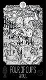 Cuatro de tazas ghoul ilustración del vector